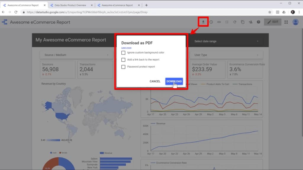 Screenshot of report in Google Data Studio with download icon and download popup highlighted, with an arrow from the icon to the popup