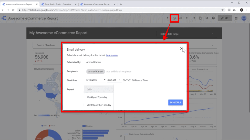 Screenshot of report in Google Data Studio with email icon and email popup highlighted, with an arrow from the icon to the popup
