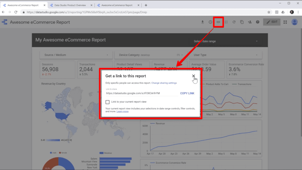 Screenshot of report in Google Data Studio with link icon and link popup highlighted, with an arrow from the icon to the popup