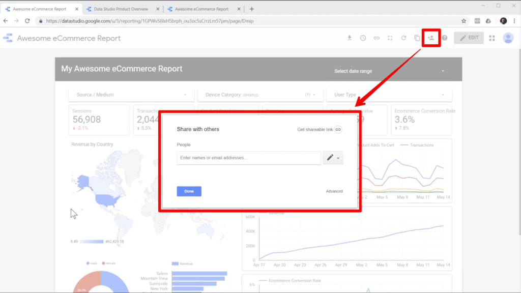 Screenshot of report in Google Data Studio with share icon and share popup highlighted, with an arrow from the icon to the popup