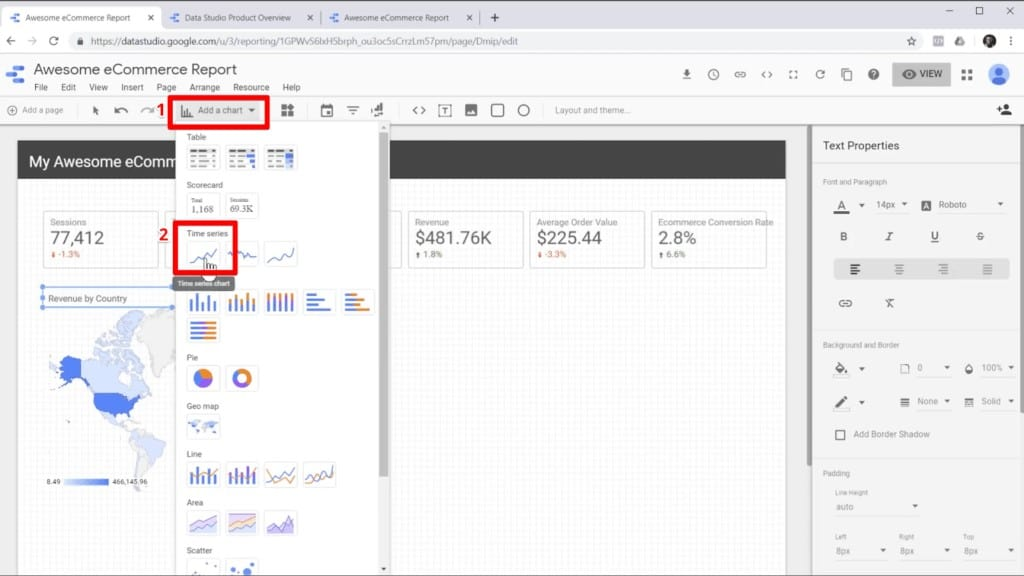 """Screenshot of selecting a time series graph from """"Add a chart"""" in Google Data Studio"""