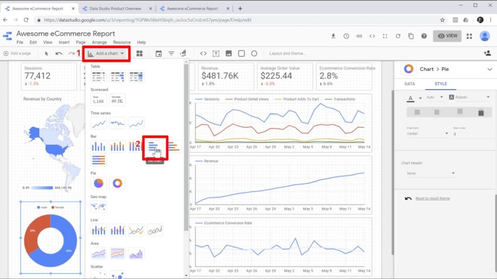 "Screenshot of selecting bar graph from ""Add a chart"" in Google Data Studio"
