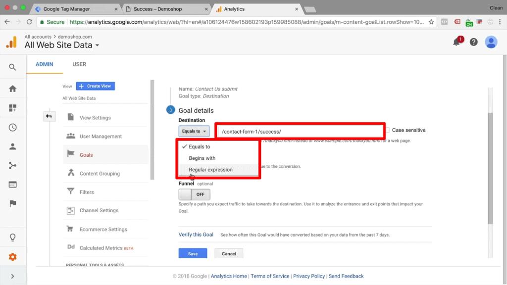 Screenshot of selecting goal destination in Google Analytics