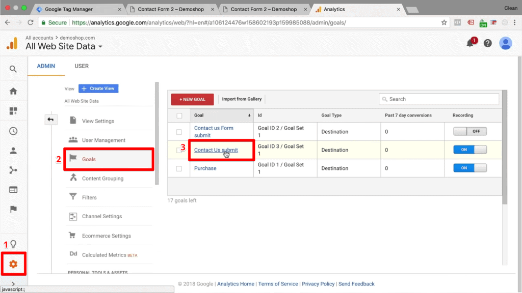 Screenshot of selecting goal from list in of existing goals in Google Analytics