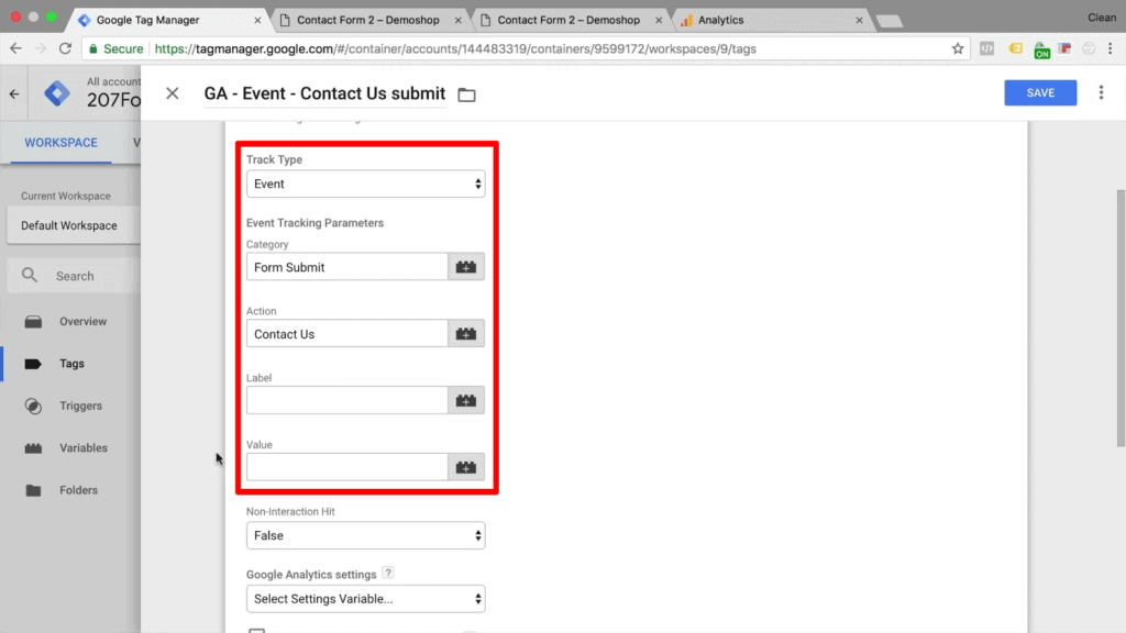"""Screenshot of tag configurations, selecting """"Event"""" as the track type, naming the category """"Form Submit,"""" and naming the action """"Contact Us"""""""