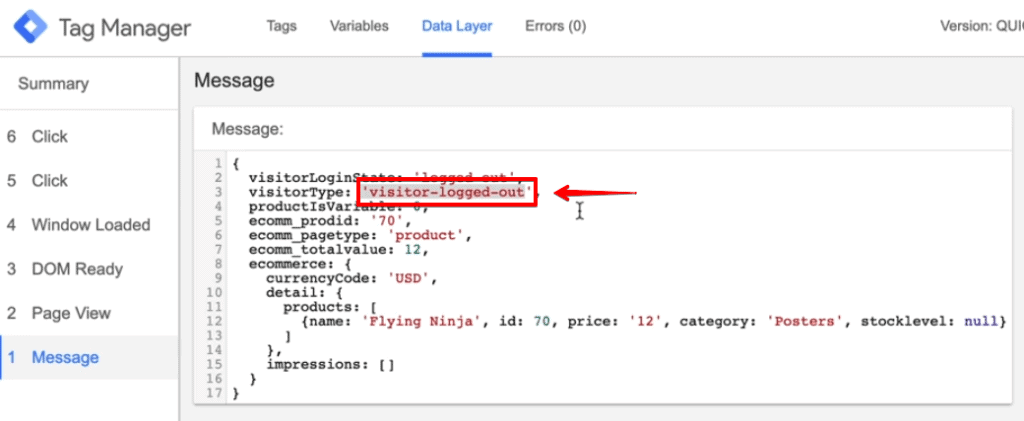 Screenshot of Google Tag Manager showing the Data Layer value of visitorType