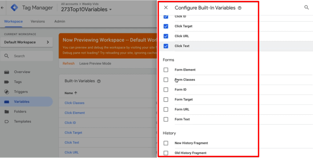 Screenshot of Google Tag Manager showing the different Auto-Event Variables you can enable.