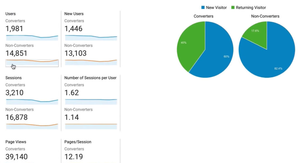 Google Analytics audience overview comparing converters and non-converters between new and returning visitors