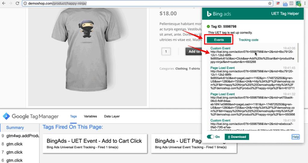 Screenshot Bing UET Helper with Custom Event fire