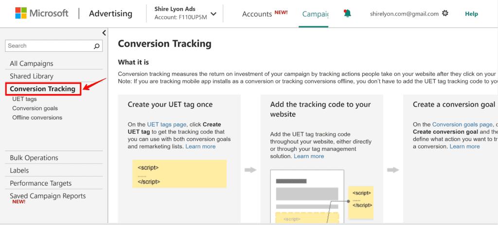 Screenshot clicking on conversion tracking