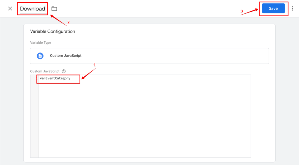 Screenshot creating JavaScript Variable