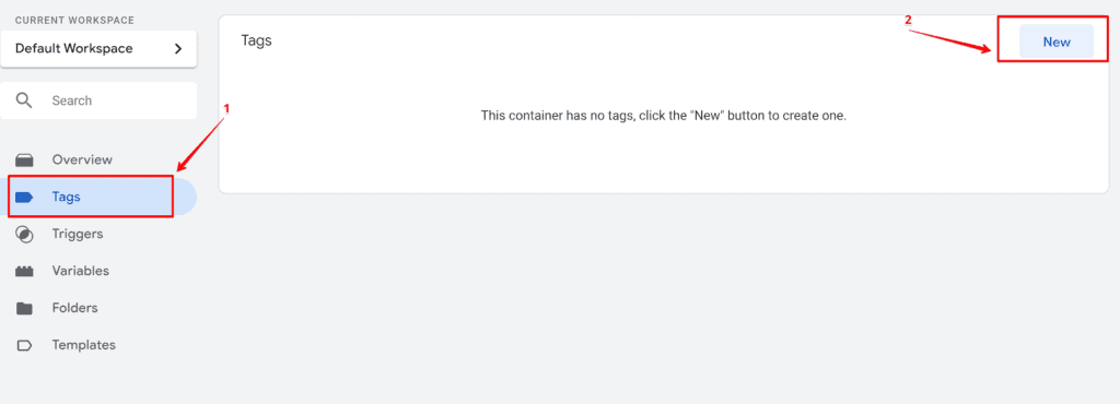 Screenshot creating new tag