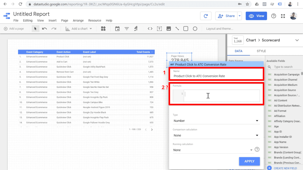 Screenshot new field configuration named Product Click to ATC Conversion Rate and empty formula box highlighted with a question mark next to it