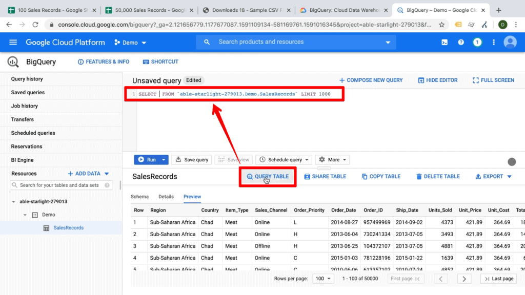Screenshot of BigQuery dashboard with Query Table button and subsequent query template highlighted
