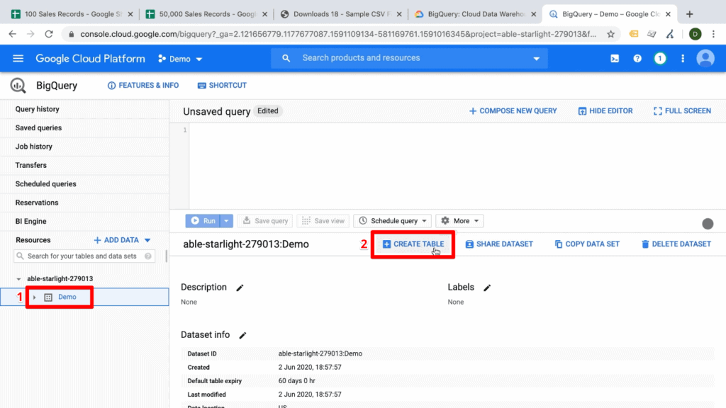 Screenshot of BigQuery dashboard with demo data resource and Create Table button highlighted