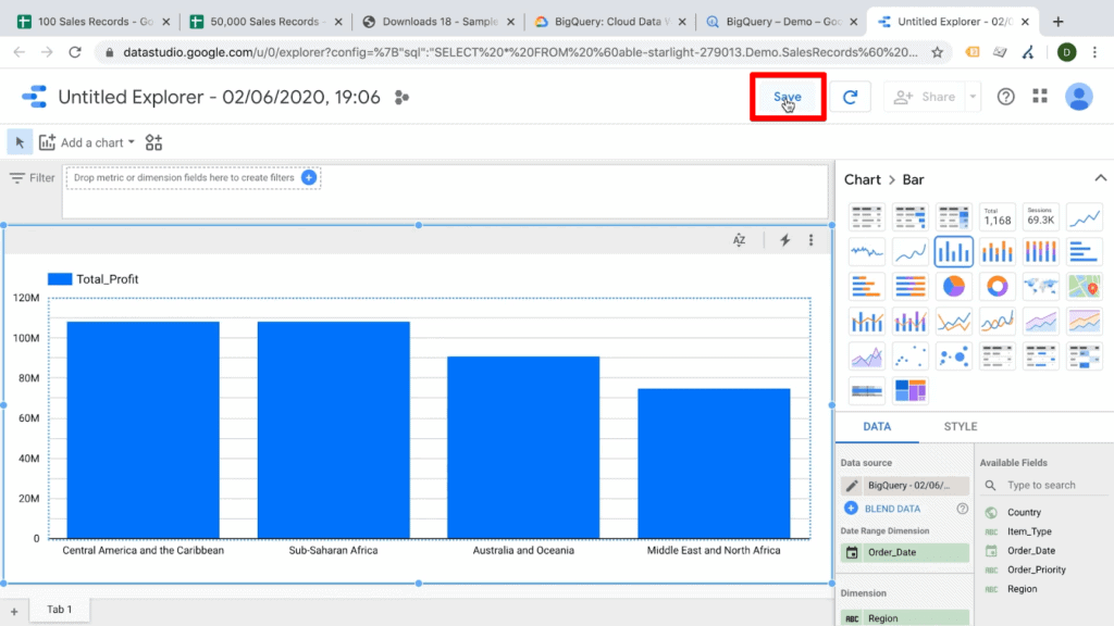 Screenshot of Data Studio dashboard with Save button highlighted