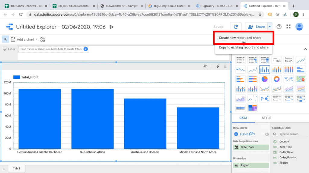 Screenshot of Data Studio with Create new report and share option from Share dropdown selected