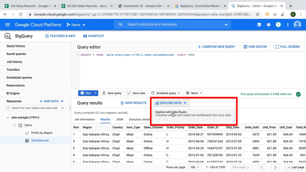 Screenshot of Explore Data dropdown and Explore with Data Studio item highlighted in BigQuery