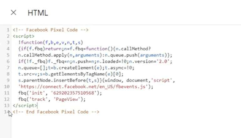 Screenshot of Facebook Pixel HTML code with noscript tag deleted