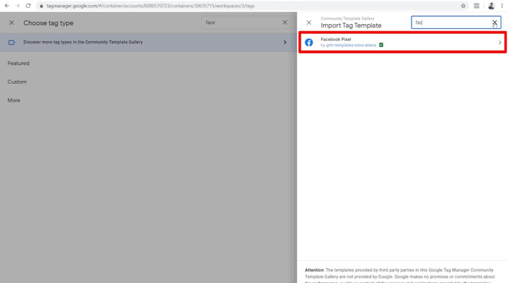 Screenshot of Facebook Pixel custom template by gtm-template-simo-ahava