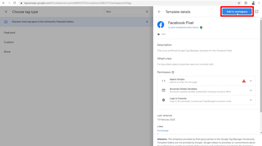 Screenshot of Facebook Pixel custom template information with Add to workspace button highlighted