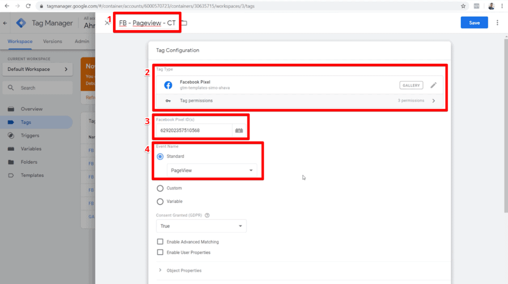 Screenshot of Facebook Pixel custom template tag configuration for pageviews