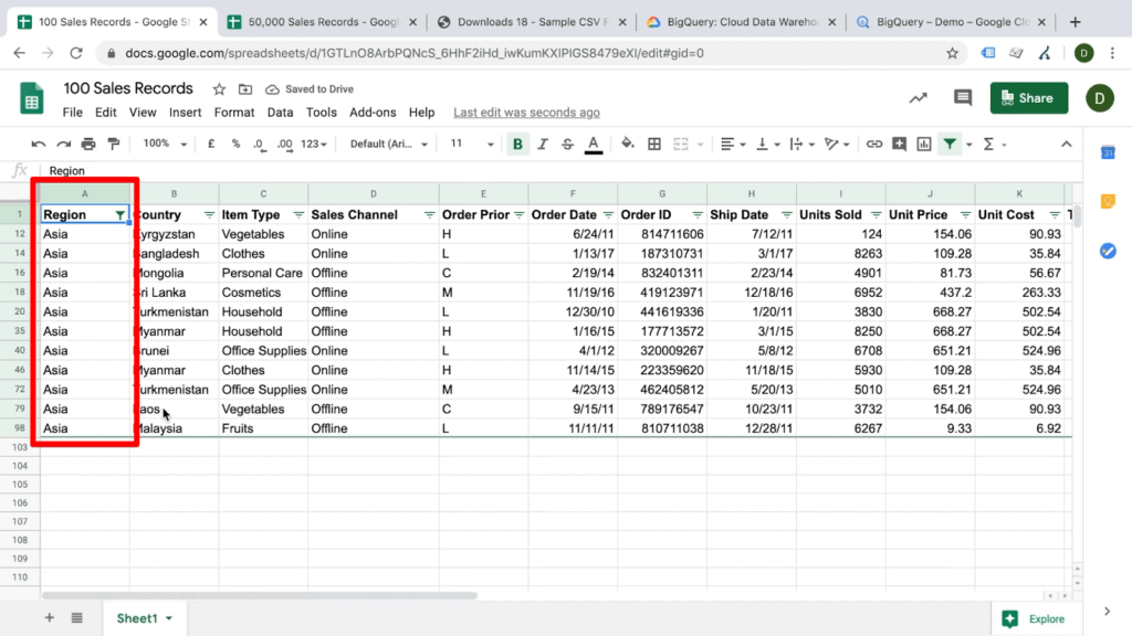 Screenshot of Google Sheets document displaying results filtered by column data