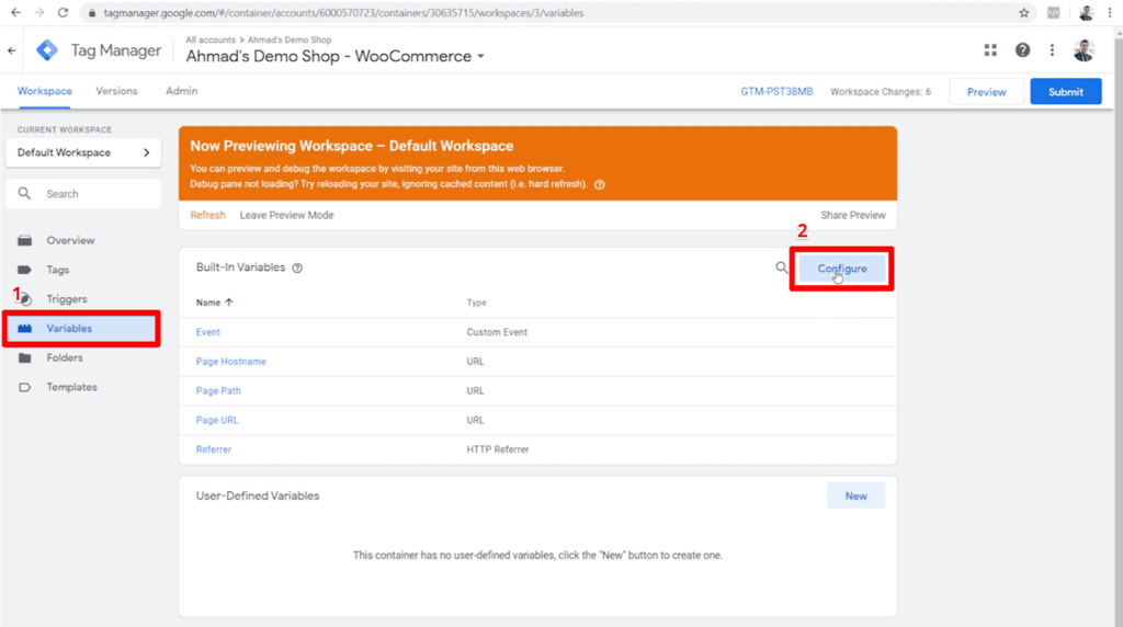 Screenshot of Google Tag Manager container with Variables and Configure button highlighted