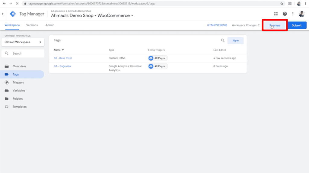 Screenshot of Google Tag Manager dashboard with Preview button highlighted