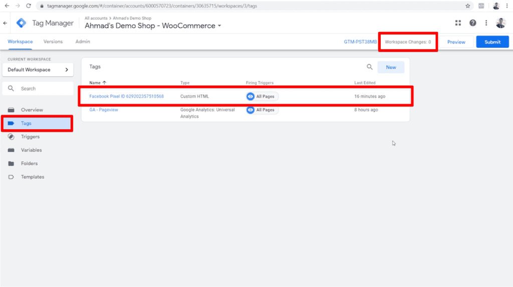 Screenshot of Google Tag Manager dashboard with new Facebook Pixel tag and zero workspace changes