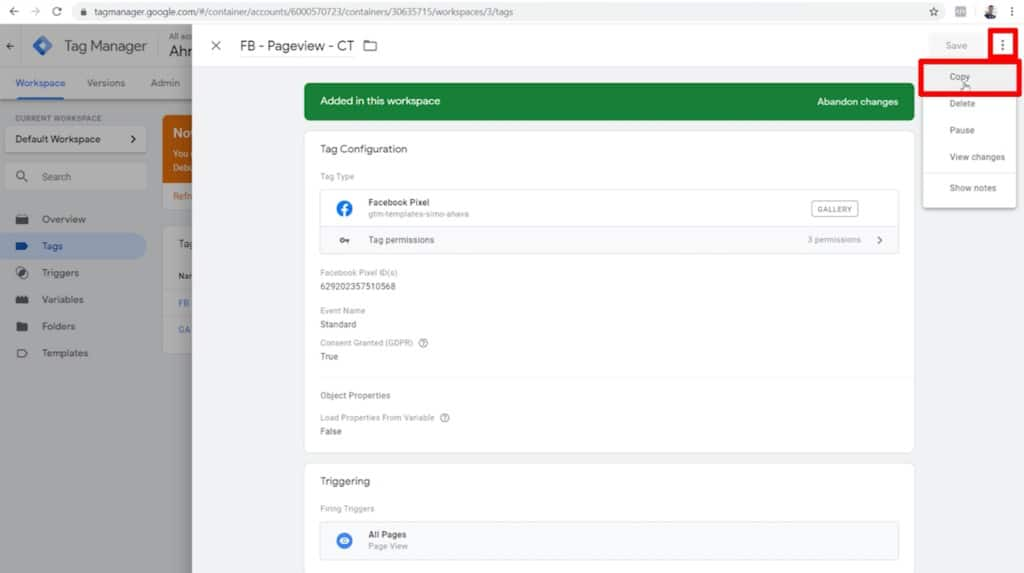 Screenshot of Google Tag Manager tag configurations with more options menu and Copy option highlighted