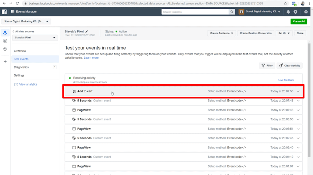 Screenshot of Pixel Events Manager Test events page with Add to cart event highlighted