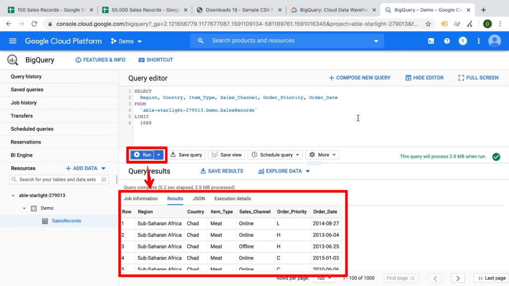 Screenshot of Run button highlighted with arrow pointing to query results on BigQuery