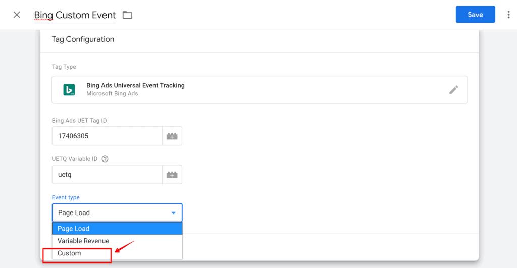 Screenshot of Tag Configuration for Custom Event