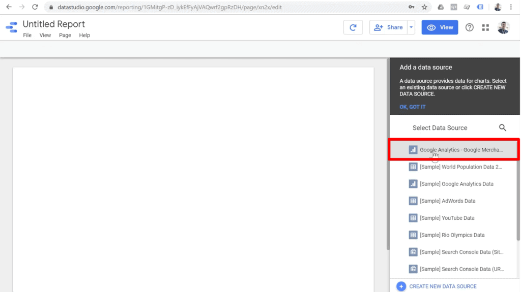 Screenshot of blank report in Google Data Studio with Google Analytics - Google Merchandise Store highlighted under Select Data Source