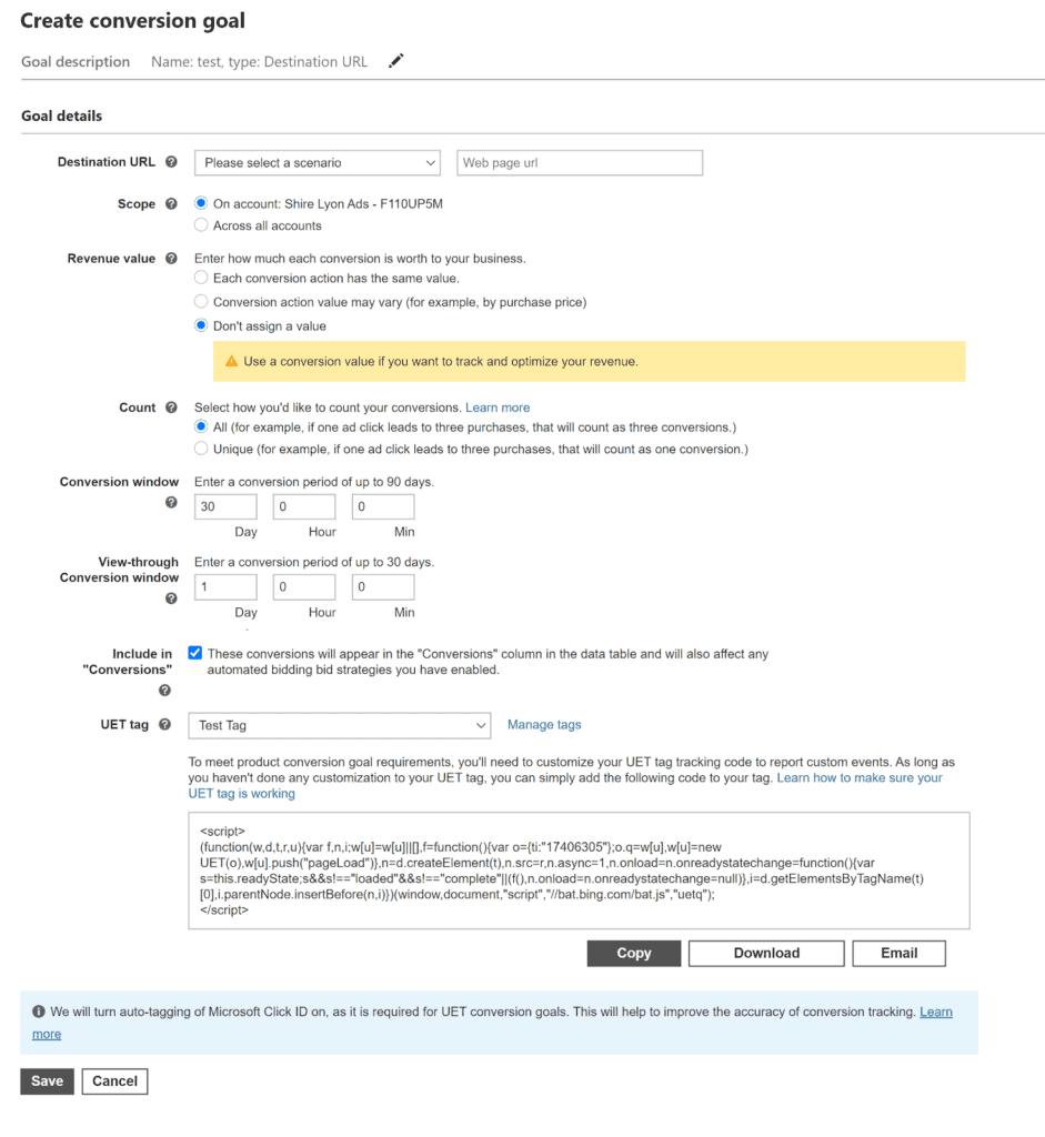 Screenshot of conversion goal settings