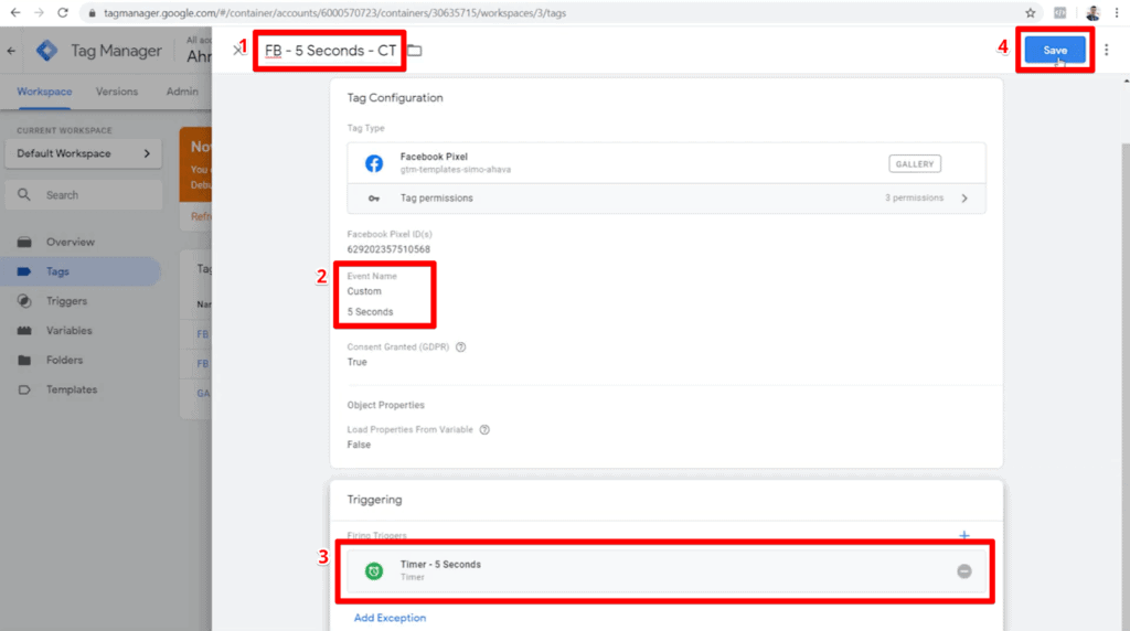 Screenshot of custom event 5 seconds tag configuration using custom template