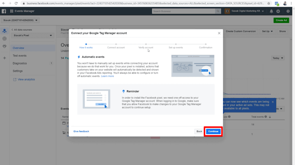 Screenshot of first step in Google Tag Manager connection popup  with Continue highlighted