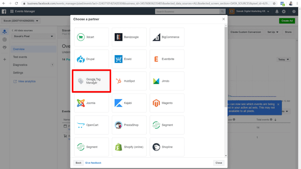 Screenshot of list of partners that connect with Facebook Pixel
