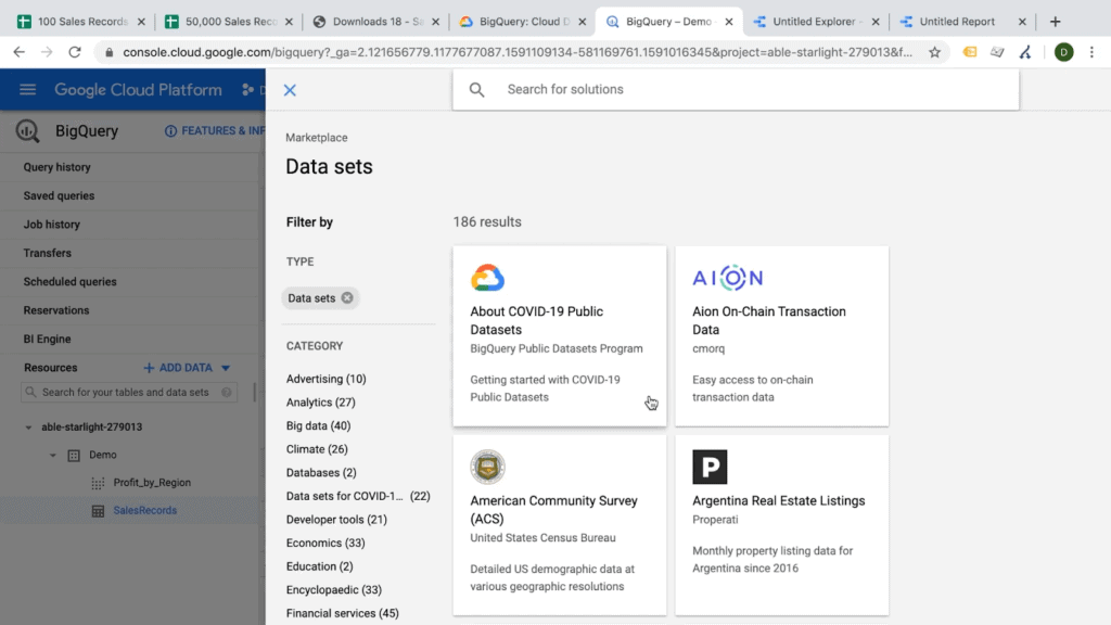 Screenshot of list of public data sets available for analysis on Google BigQuery