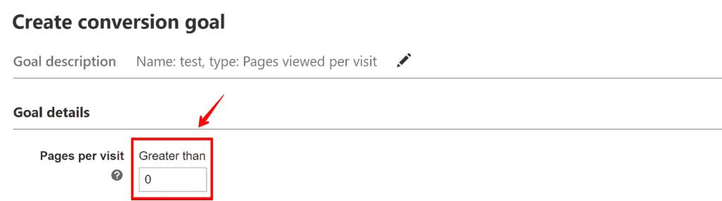 Screenshot of pages per visit goal setup