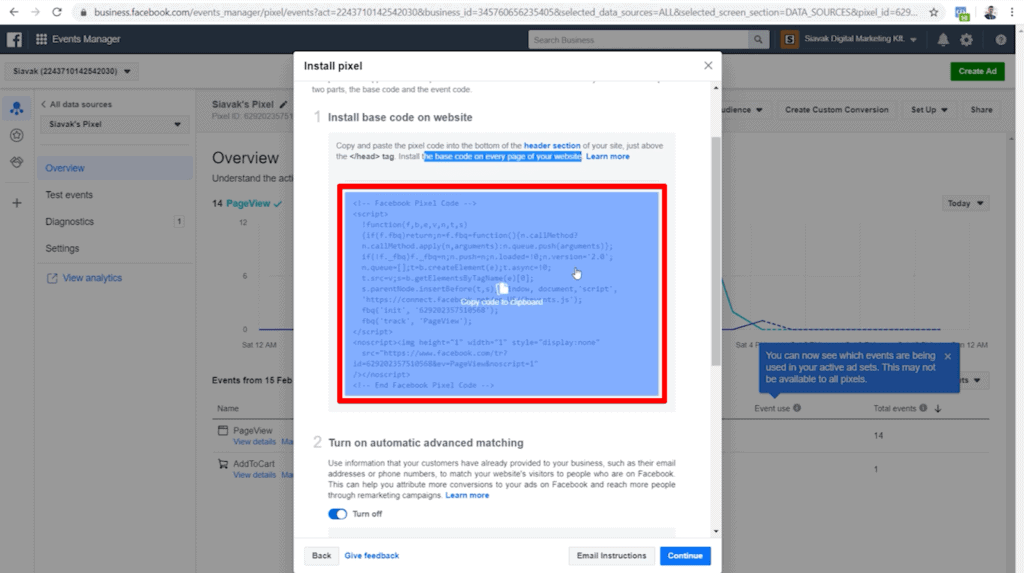 Screenshot of pixel base code and Facebook's installation instructions