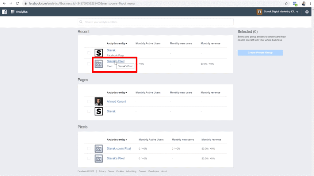 Screenshot of pixels and pages listed on Facebook Analytics