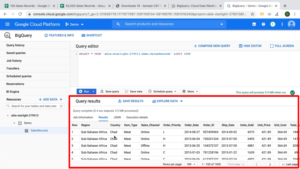 Screenshot of query results on BigQuery dashboard