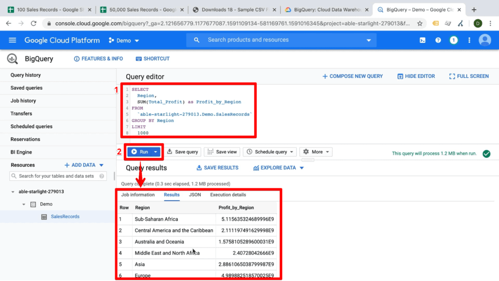 Screenshot of query selecting by a schema and an equation which grouping by the selected schema, with query and Run button highlighted and arrow pointing at query results in BigQuery