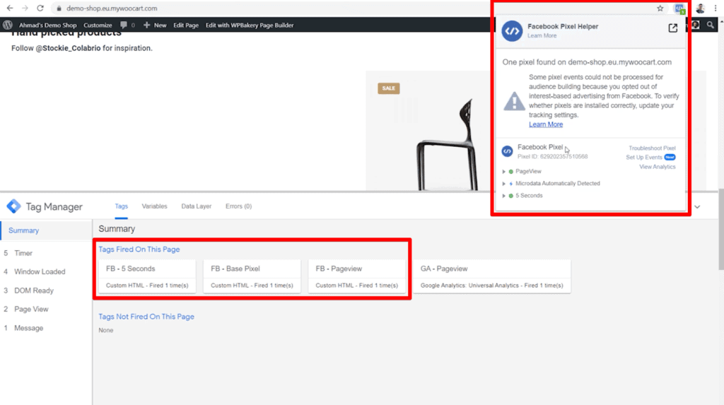 Screenshot of shop page with 5 Seconds, Base Pixel, and Pageview tags highlighted in GTM and Facebook Pixel Helper data highlighted