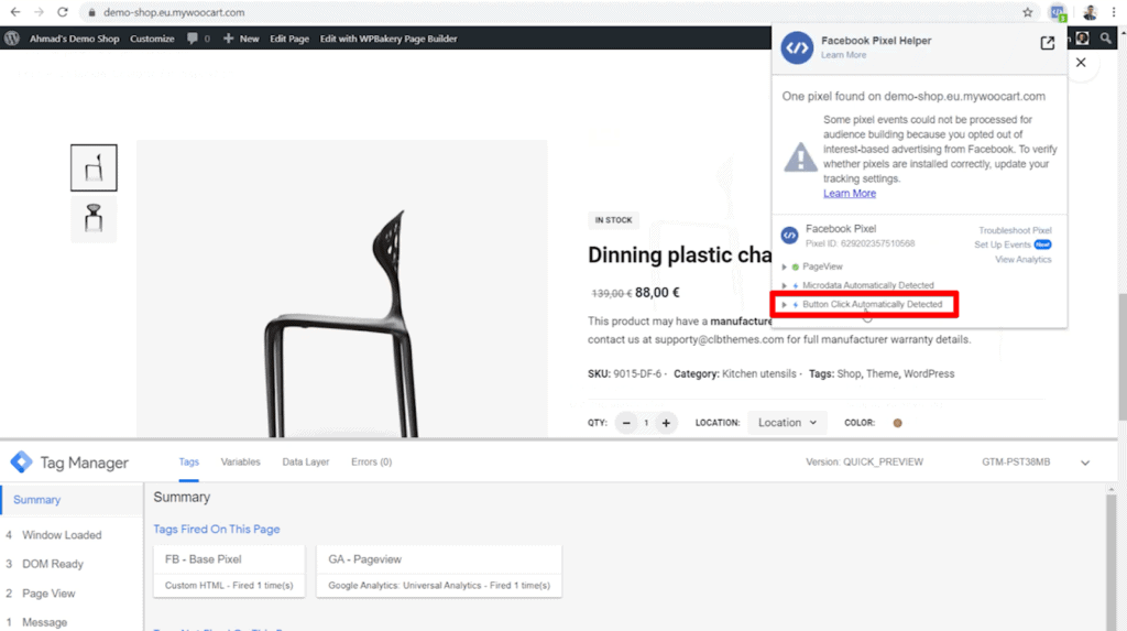 Screenshot of shop product page and Facebook Pixel Helper with Button Click Automatically Detected highlighted