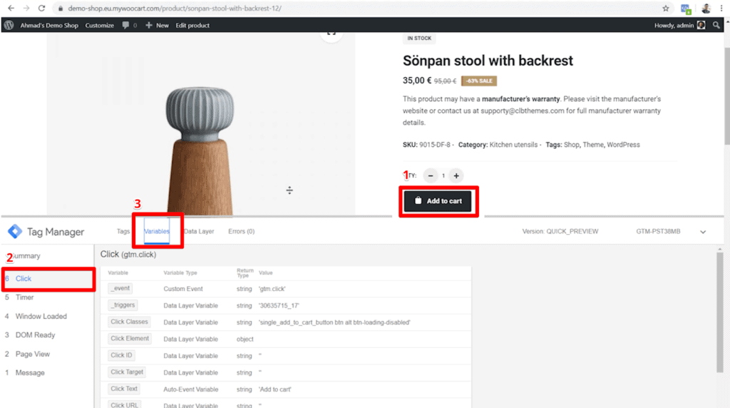 Screenshot of shop product page with Add to cart button, Click event in GTM, and Variables tab in GTM highlighted