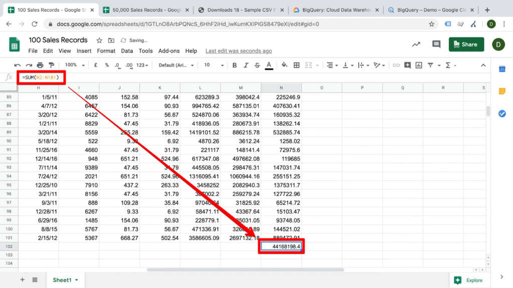 Screenshot of sum equation in Google Sheets document, with an arrow from the formula bar to the corresponding cell