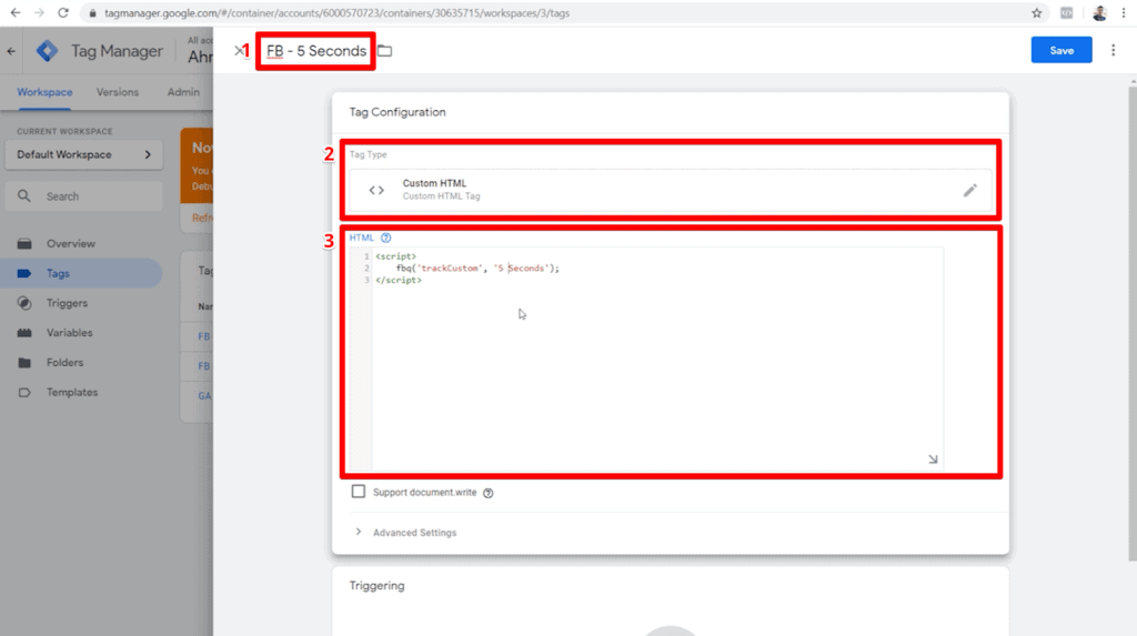 Screenshot of tag configuration settings with name, tag type, and HTML highlighted